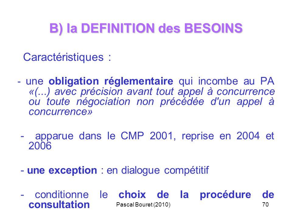 B) la DEFINITION des BESOINS