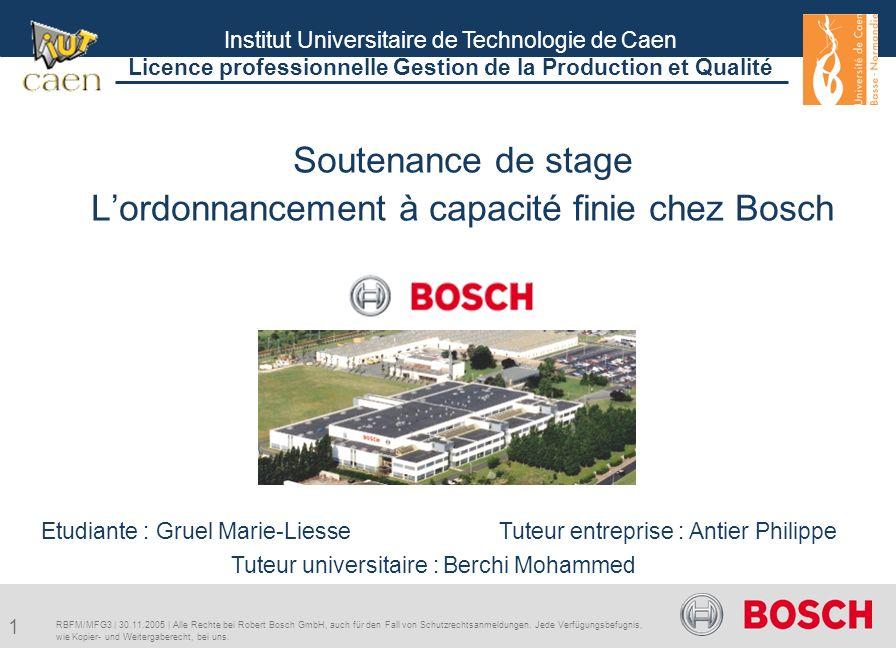 Soutenance de stage L'ordonnancement à capacité finie chez Bosch