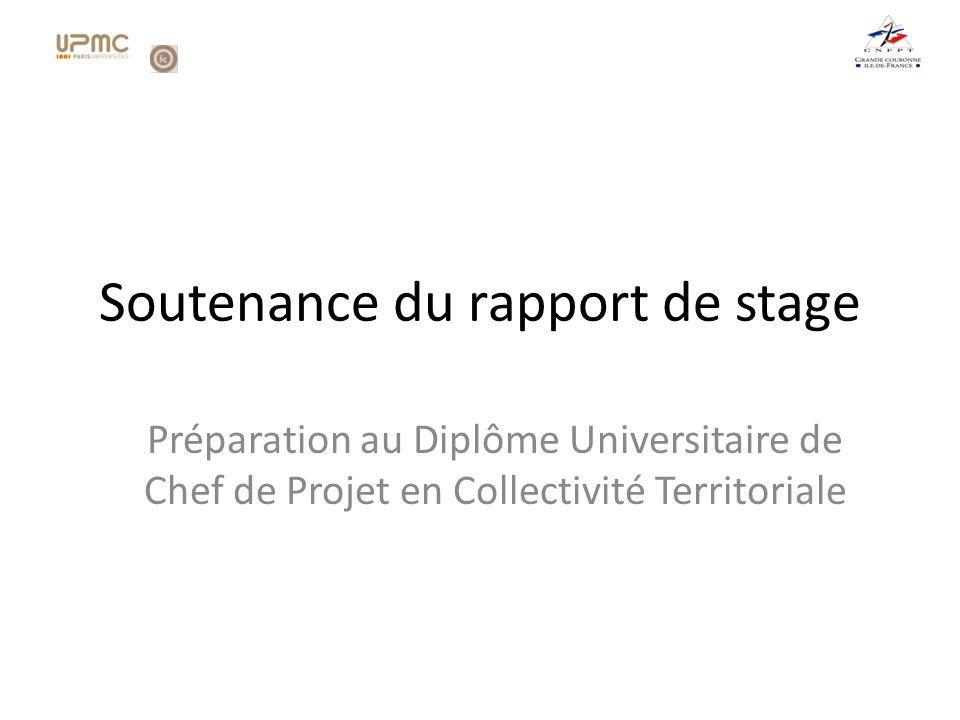 Soutenance du rapport de stage