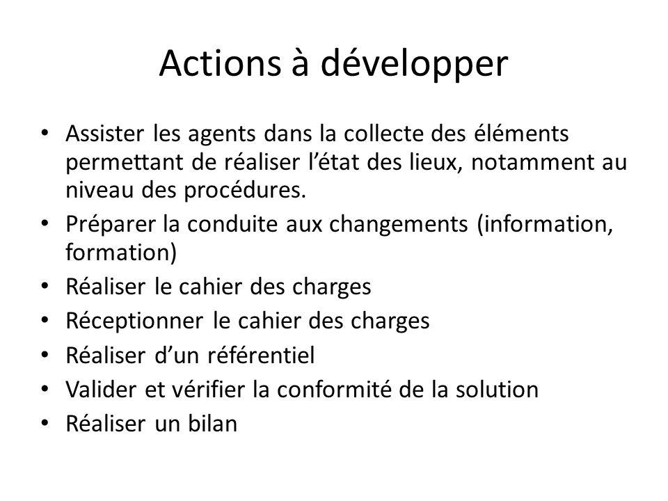 Actions à développer Assister les agents dans la collecte des éléments permettant de réaliser l'état des lieux, notamment au niveau des procédures.