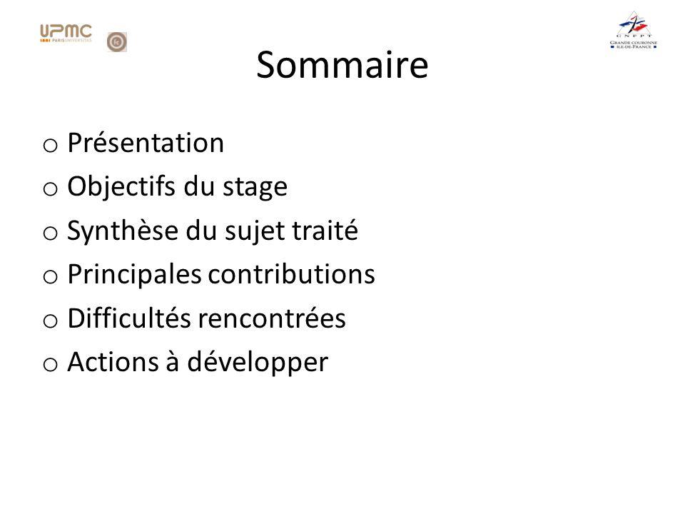 Sommaire Présentation Objectifs du stage Synthèse du sujet traité
