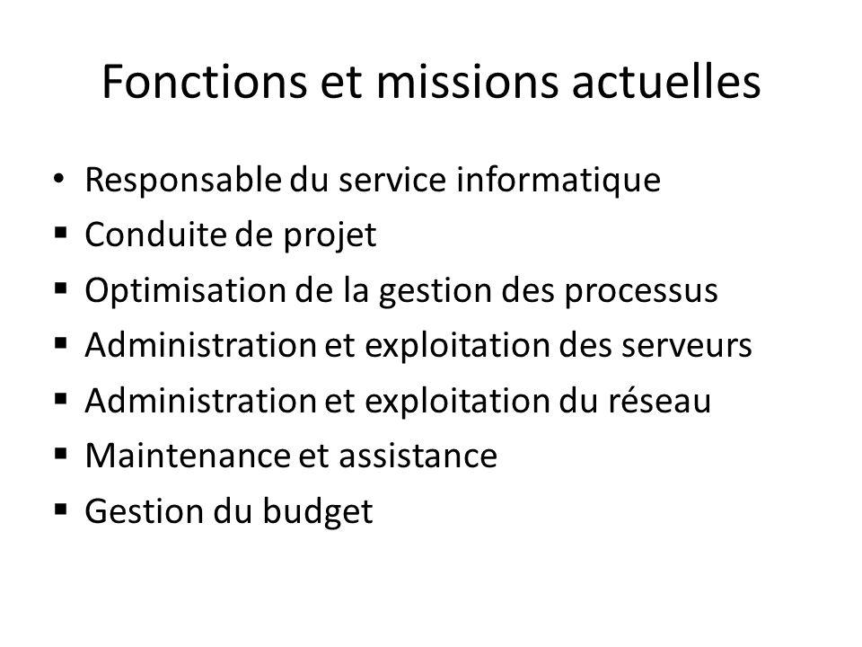 Fonctions et missions actuelles