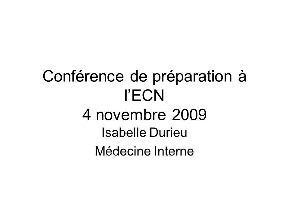 Conférence de préparation à l'ECN 4 novembre 2009