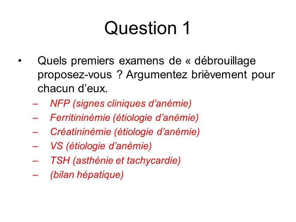 Question 1 Quels premiers examens de « débrouillage proposez-vous Argumentez brièvement pour chacun d'eux.