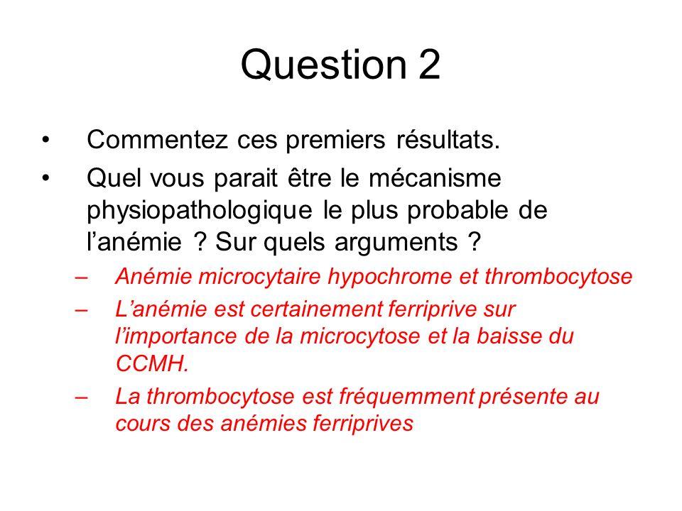 Question 2 Commentez ces premiers résultats.