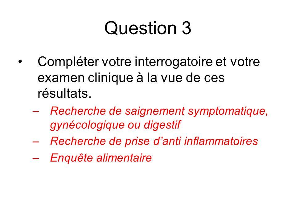 Question 3 Compléter votre interrogatoire et votre examen clinique à la vue de ces résultats.