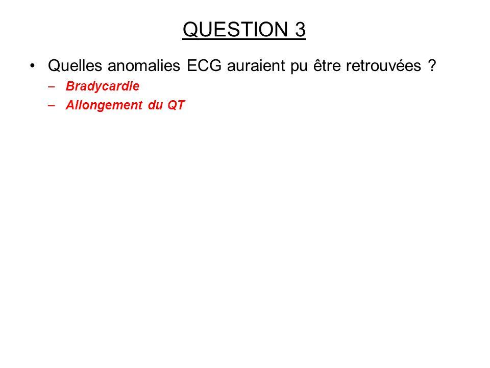 QUESTION 3 Quelles anomalies ECG auraient pu être retrouvées