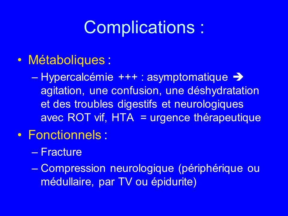 Complications : Métaboliques : Fonctionnels :