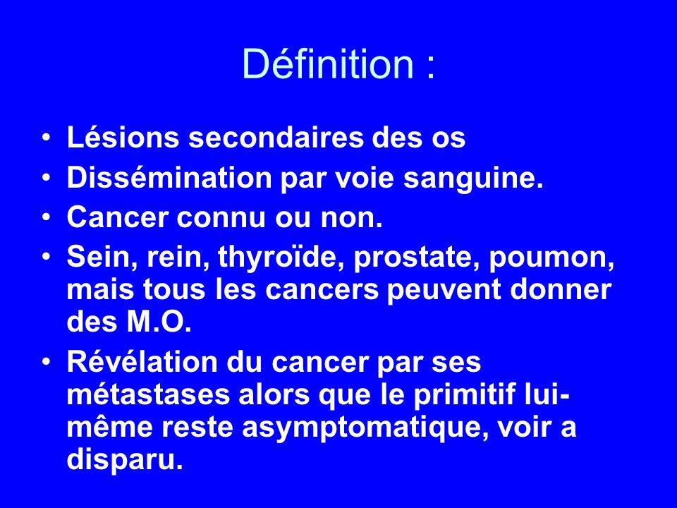 Définition : Lésions secondaires des os