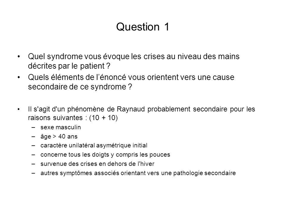 Question 1 Quel syndrome vous évoque les crises au niveau des mains décrites par le patient
