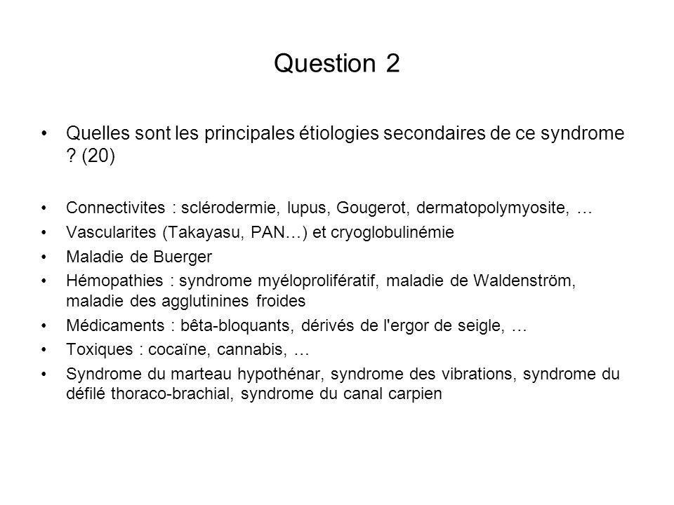 Question 2 Quelles sont les principales étiologies secondaires de ce syndrome (20)