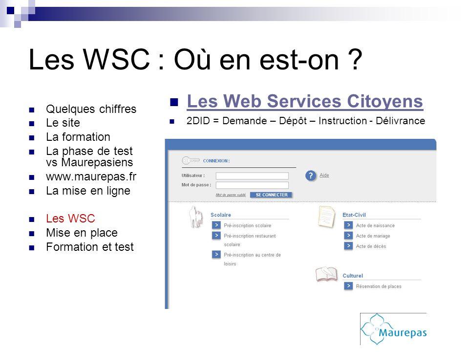 Les WSC : Où en est-on Les Web Services Citoyens Quelques chiffres