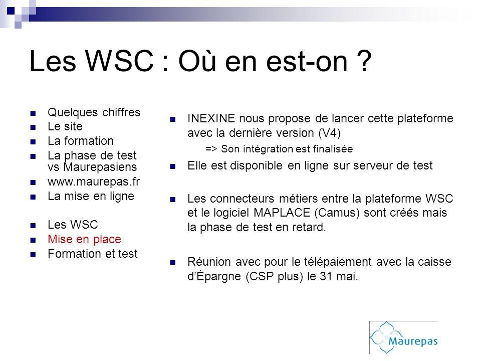 Les WSC : Où en est-on Quelques chiffres