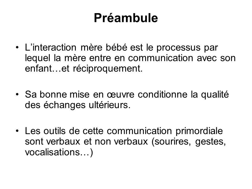 PréambuleL'interaction mère bébé est le processus par lequel la mère entre en communication avec son enfant…et réciproquement.