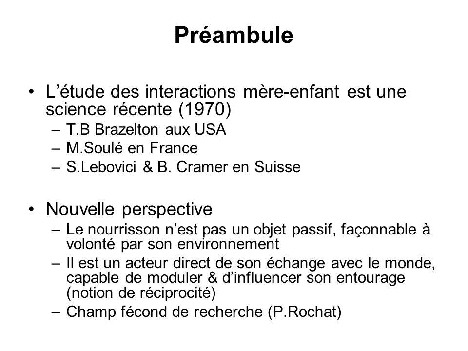 Préambule L'étude des interactions mère-enfant est une science récente (1970) T.B Brazelton aux USA.