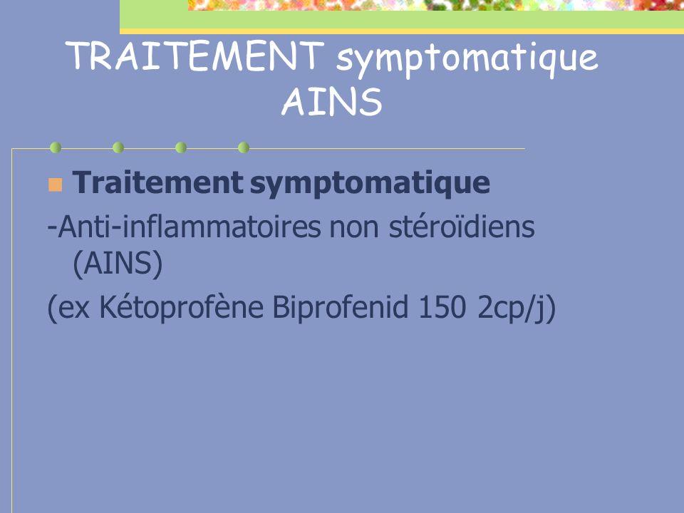 TRAITEMENT symptomatique AINS