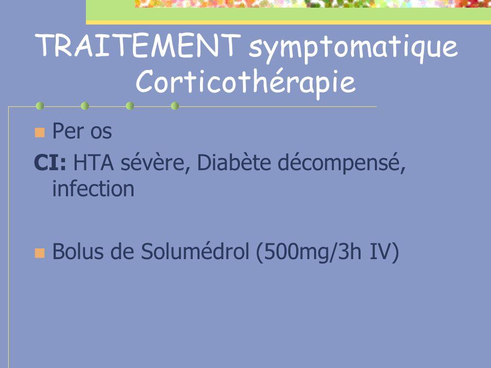 TRAITEMENT symptomatique Corticothérapie