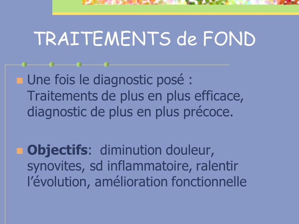 TRAITEMENTS de FOND Une fois le diagnostic posé : Traitements de plus en plus efficace, diagnostic de plus en plus précoce.