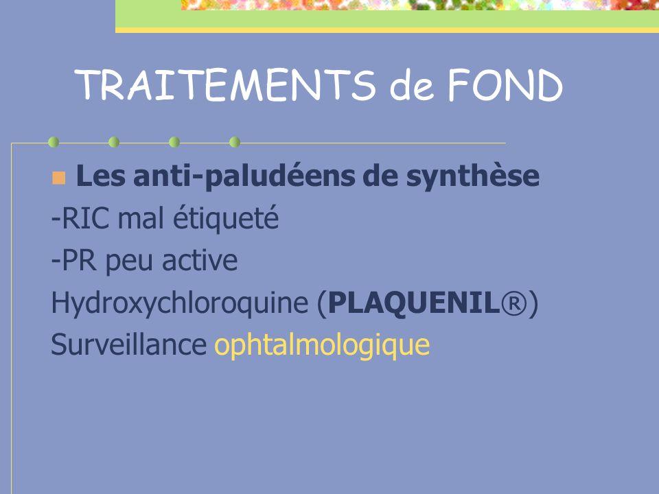 TRAITEMENTS de FOND Les anti-paludéens de synthèse -RIC mal étiqueté