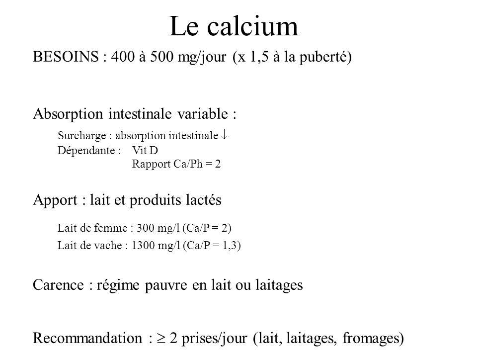 Le calcium BESOINS : 400 à 500 mg/jour (x 1,5 à la puberté)