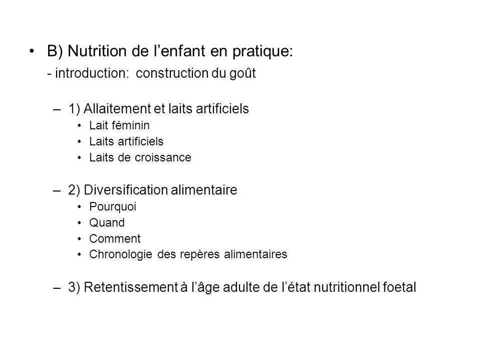 B) Nutrition de l'enfant en pratique: