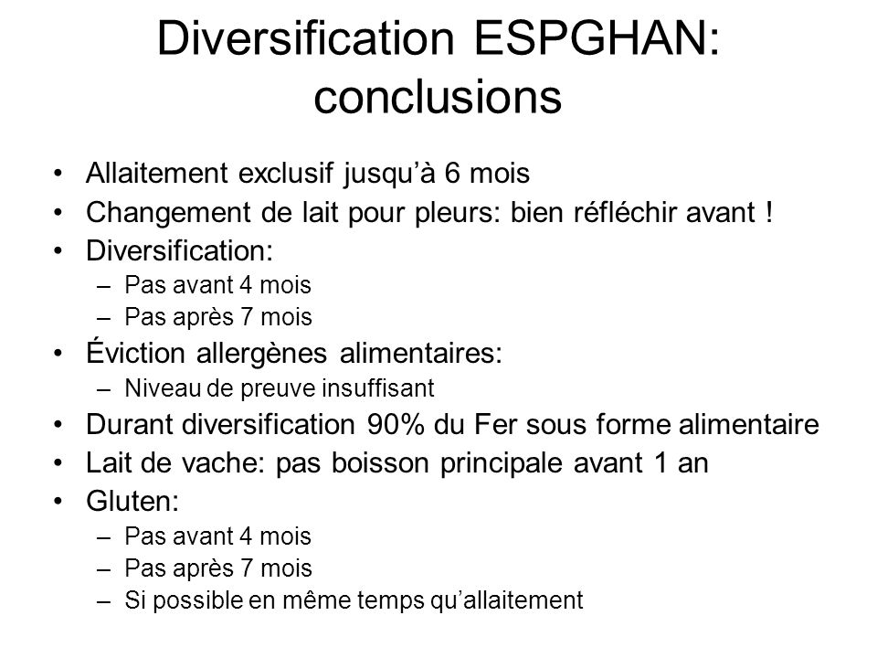 Diversification ESPGHAN: conclusions
