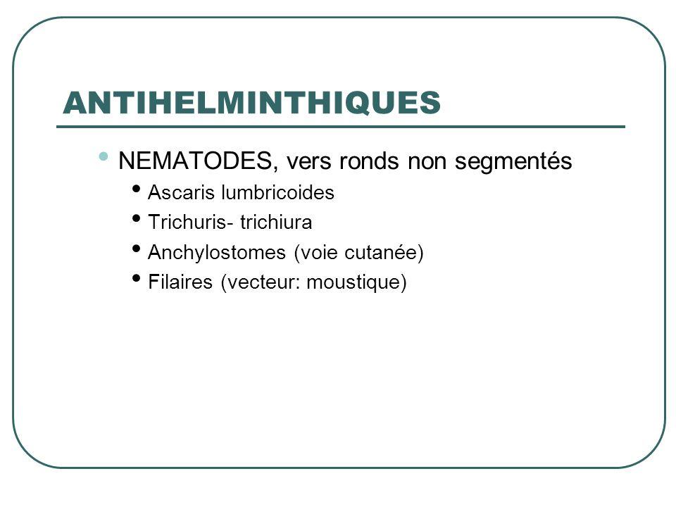 ANTIHELMINTHIQUES NEMATODES, vers ronds non segmentés