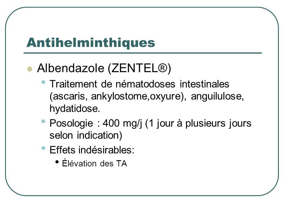 Antihelminthiques Albendazole (ZENTEL®)