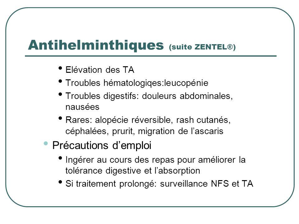 Antihelminthiques (suite ZENTEL®)
