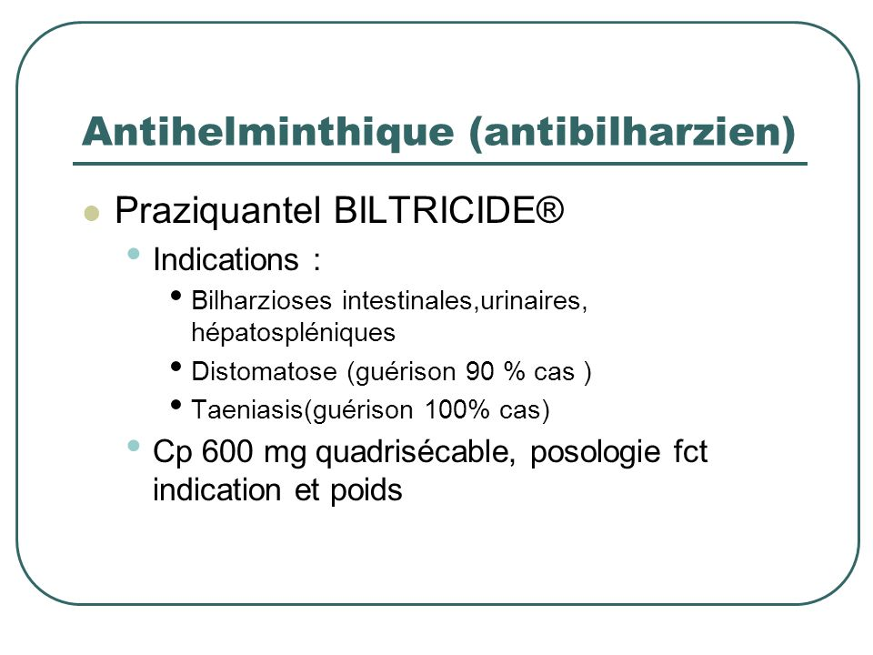 Antihelminthique (antibilharzien)