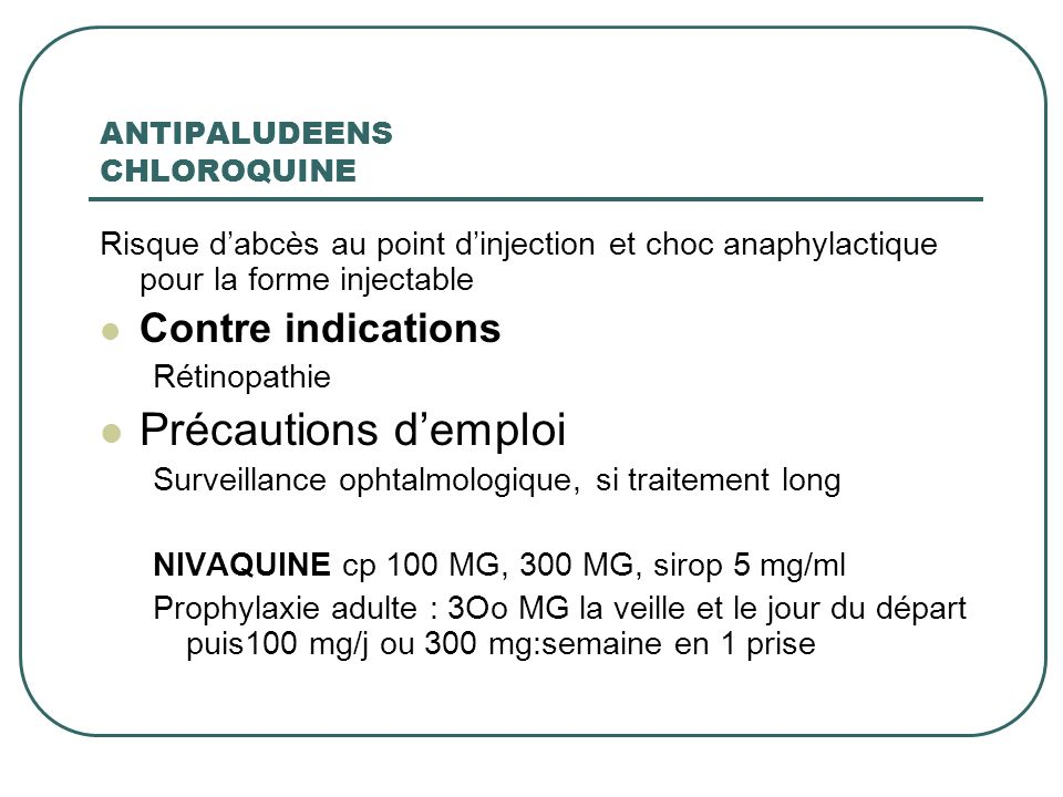 ANTIPALUDEENS CHLOROQUINE