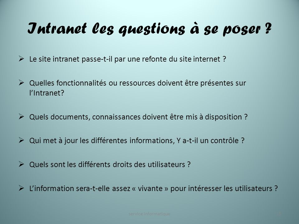 Intranet les questions à se poser