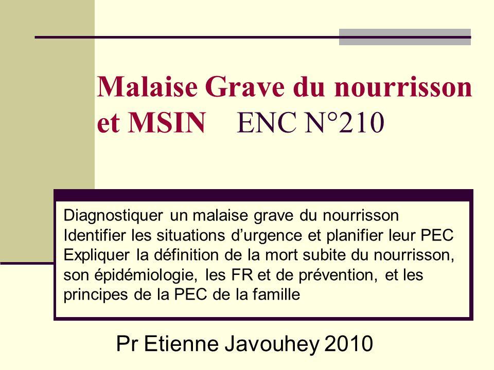 Malaise Grave du nourrisson et MSIN ENC N°210