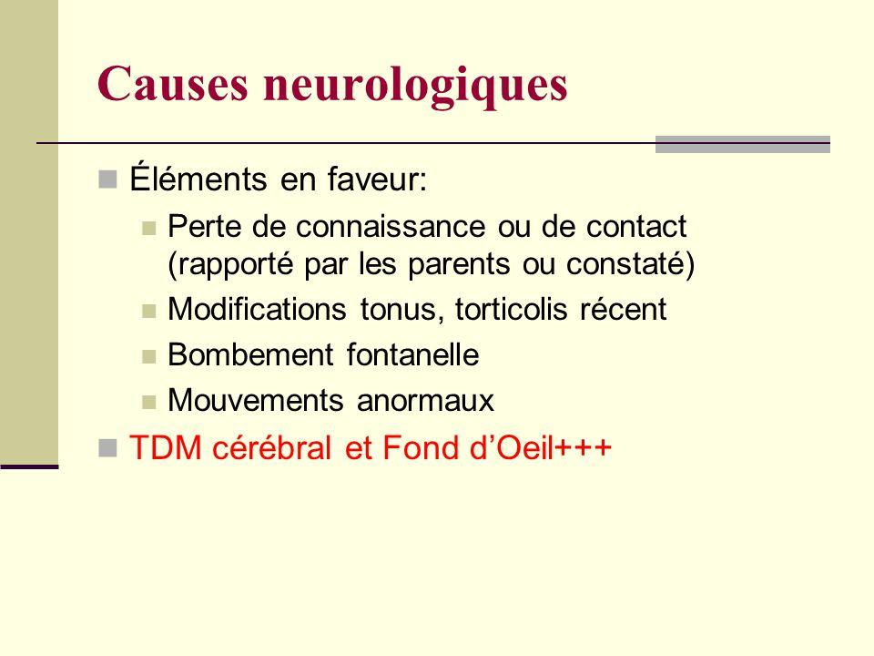 Causes neurologiques Éléments en faveur:
