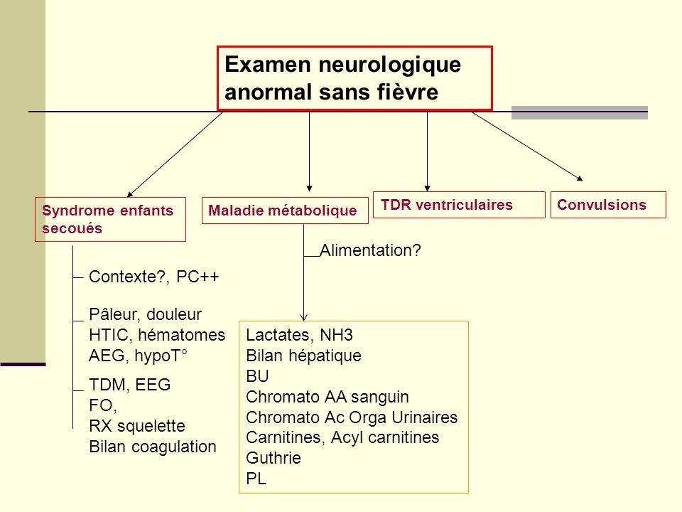 Examen neurologique anormal sans fièvre