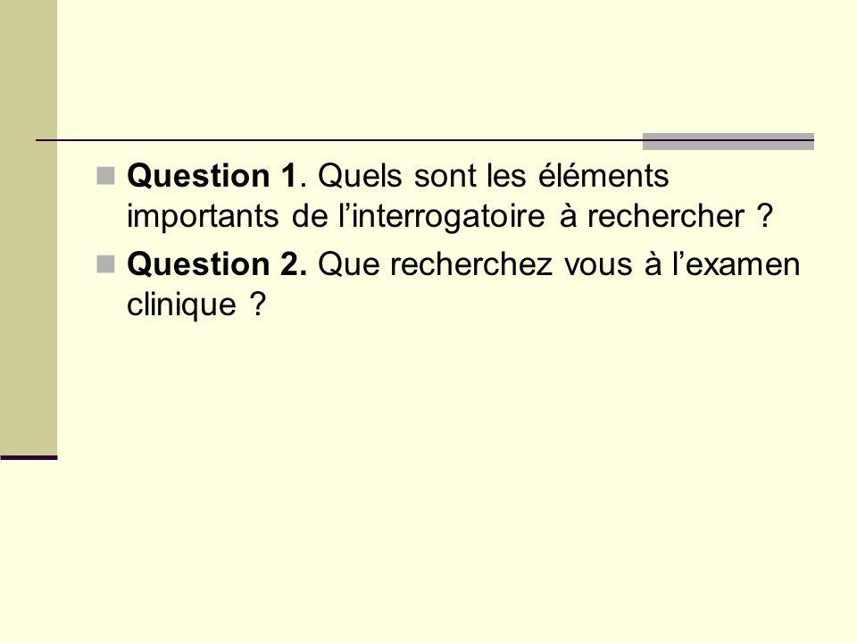 Question 1. Quels sont les éléments importants de l'interrogatoire à rechercher