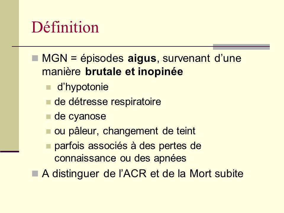 Définition MGN = épisodes aigus, survenant d'une manière brutale et inopinée. d'hypotonie. de détresse respiratoire.