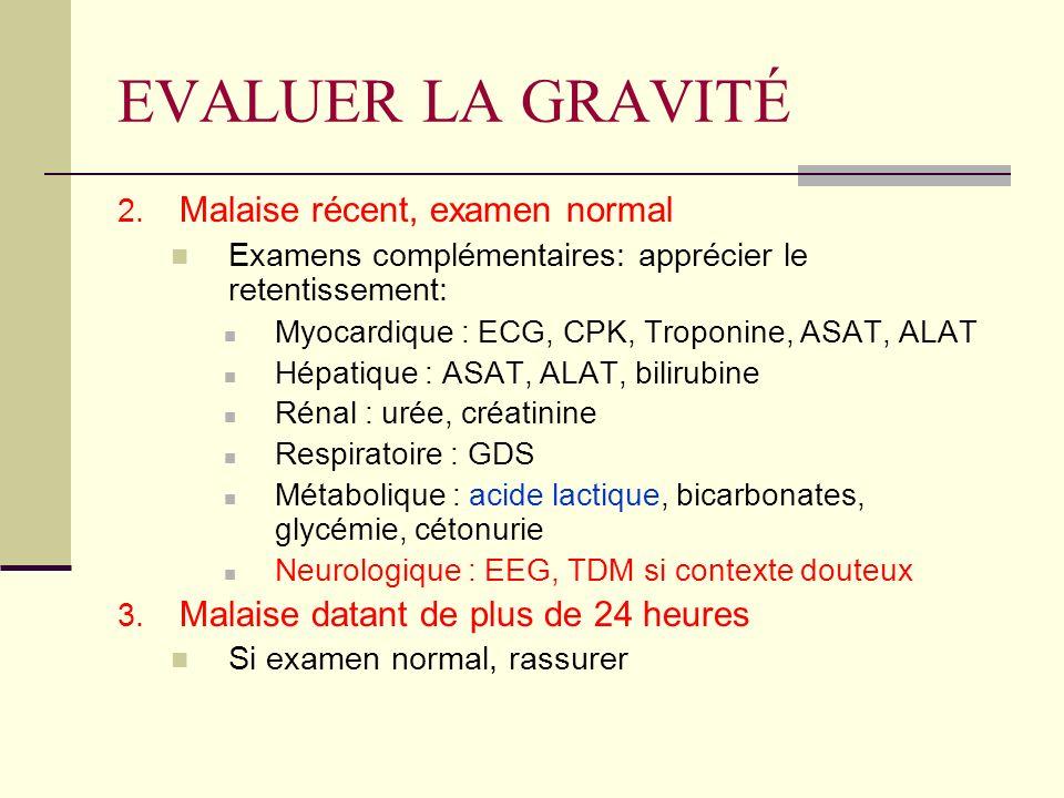 EVALUER LA GRAVITÉ Malaise récent, examen normal