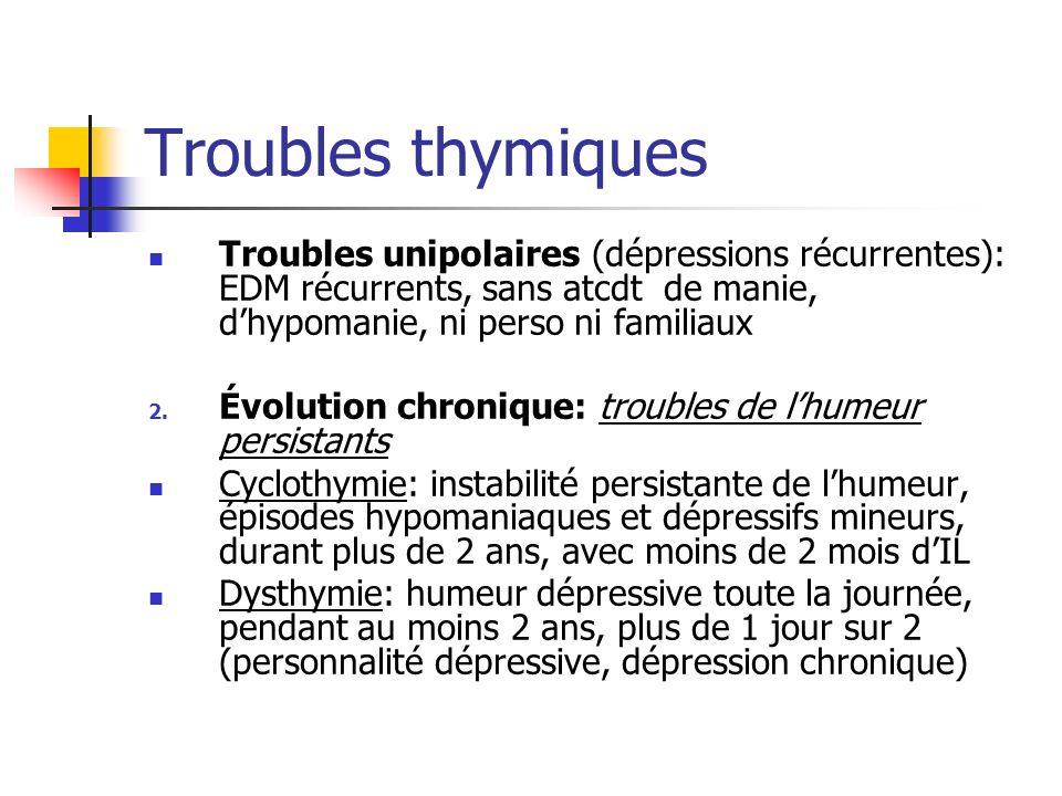 Troubles thymiquesTroubles unipolaires (dépressions récurrentes): EDM récurrents, sans atcdt de manie, d'hypomanie, ni perso ni familiaux.