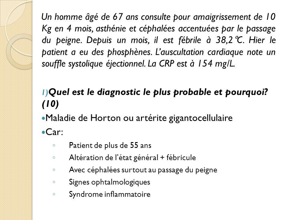 Quel est le diagnostic le plus probable et pourquoi (10)