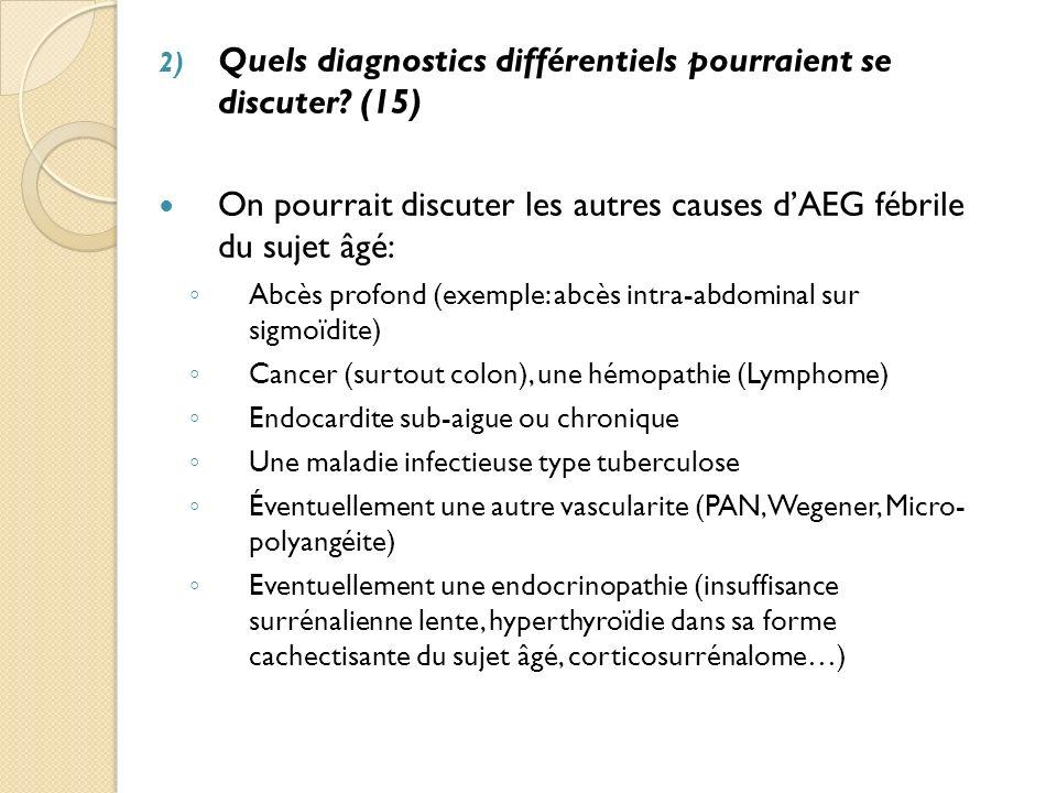 Quels diagnostics différentiels pourraient se discuter (15)