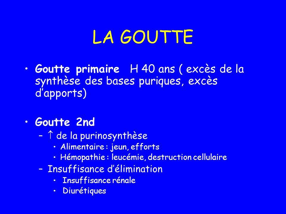 LA GOUTTEGoutte primaire H 40 ans ( excès de la synthèse des bases puriques, excès d'apports) Goutte 2nd.