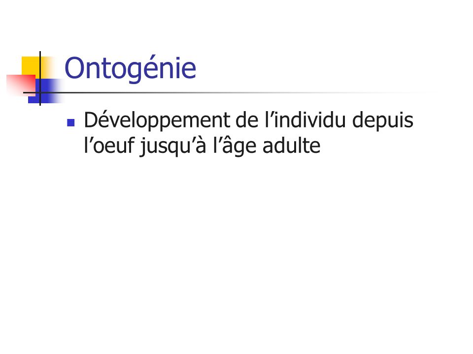 Ontogénie Développement de l'individu depuis l'oeuf jusqu'à l'âge adulte
