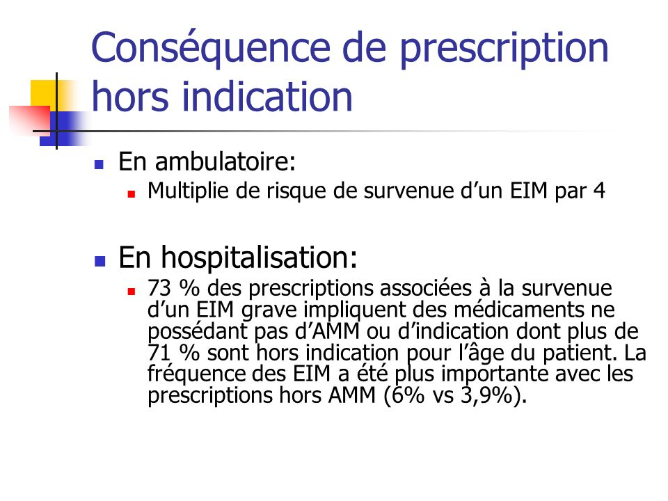 Conséquence de prescription hors indication
