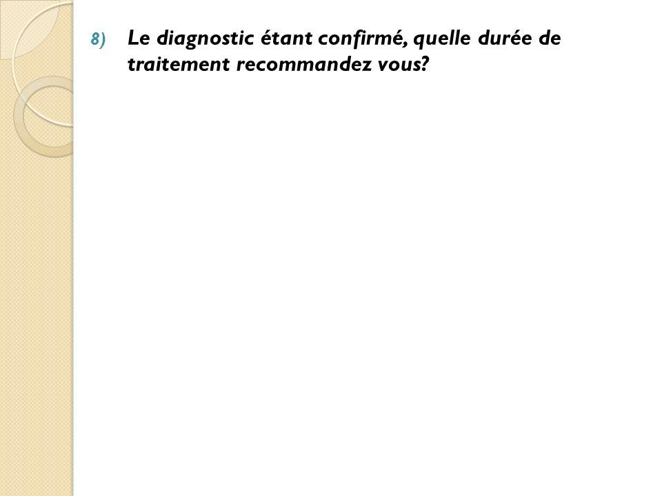 Le diagnostic étant confirmé, quelle durée de traitement recommandez vous