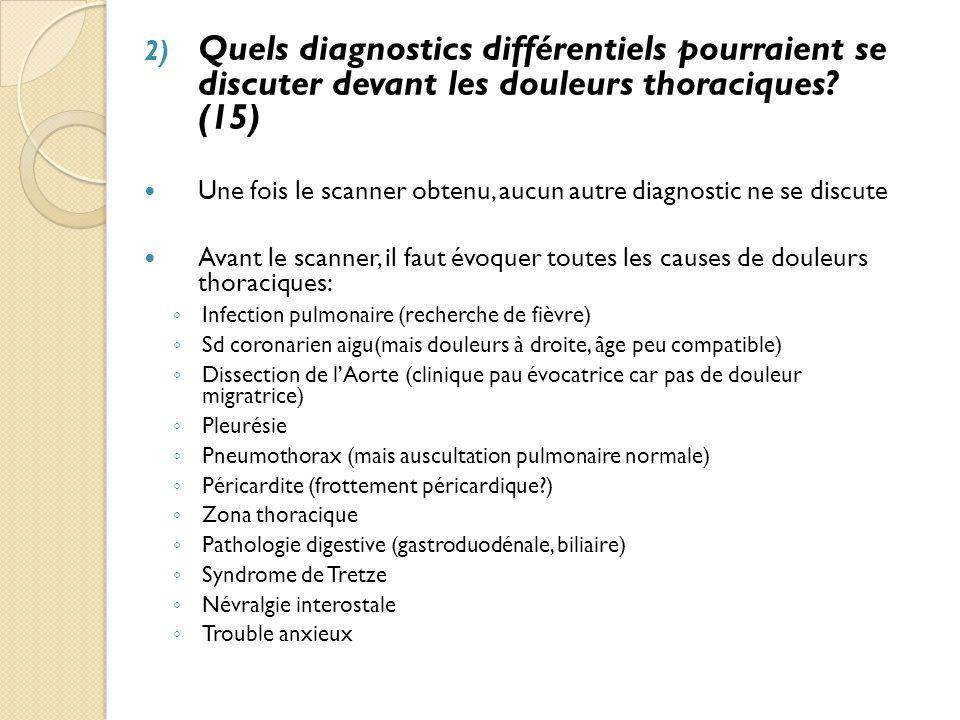 Quels diagnostics différentiels pourraient se discuter devant les douleurs thoraciques (15)