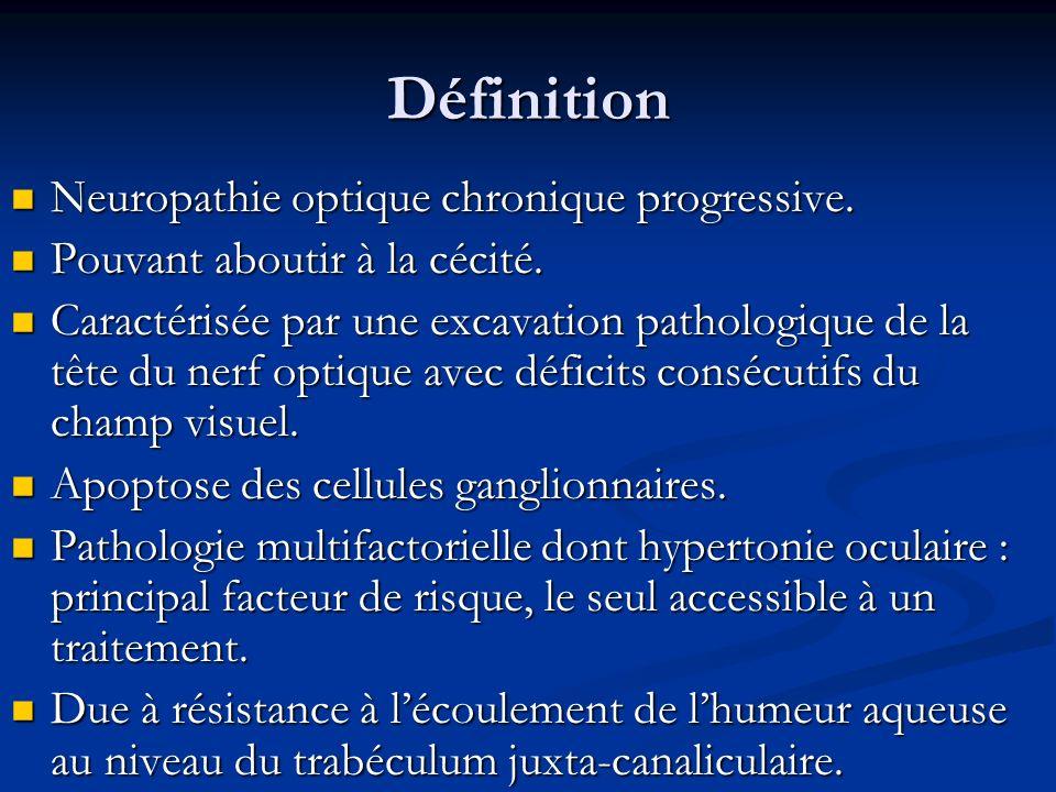 Définition Neuropathie optique chronique progressive.