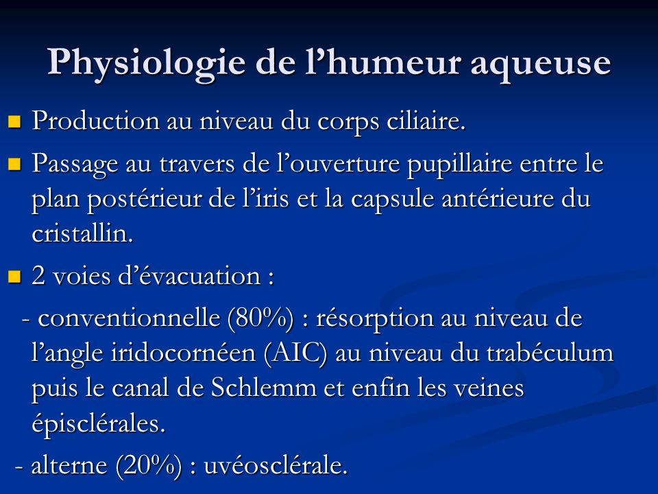Physiologie de l'humeur aqueuse