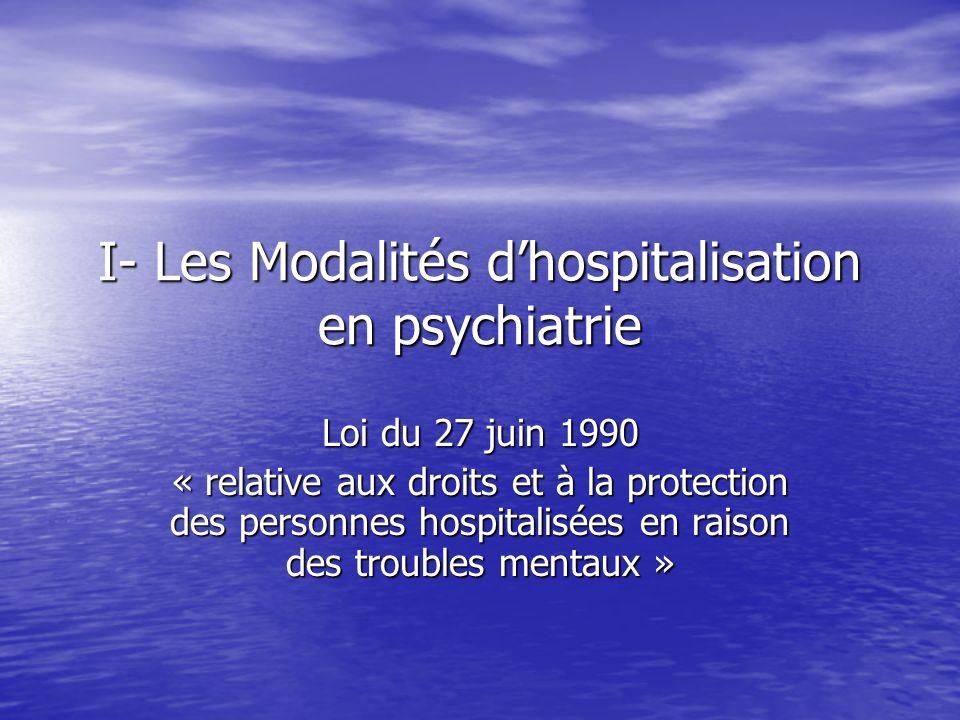 I- Les Modalités d'hospitalisation en psychiatrie
