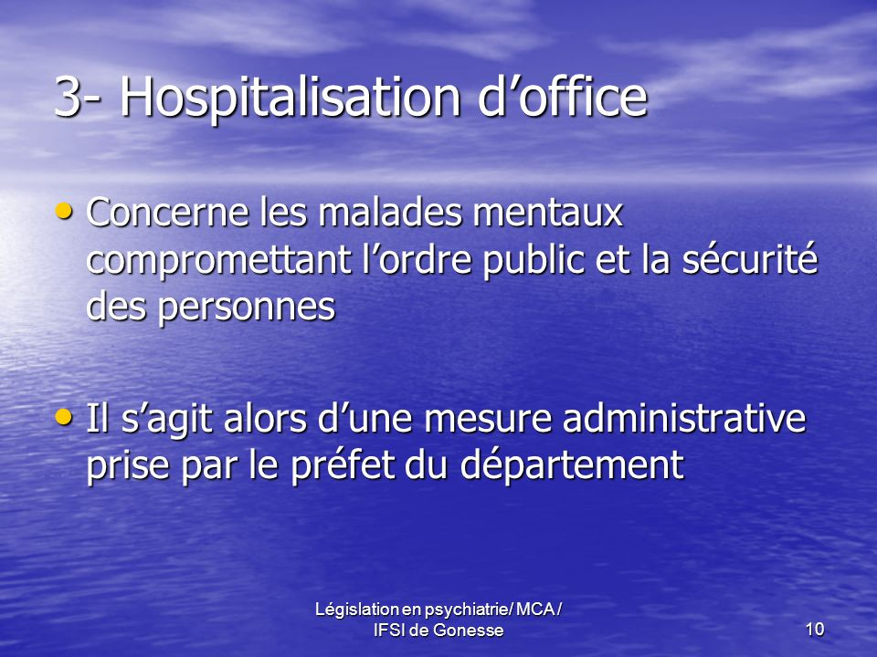 3- Hospitalisation d'office